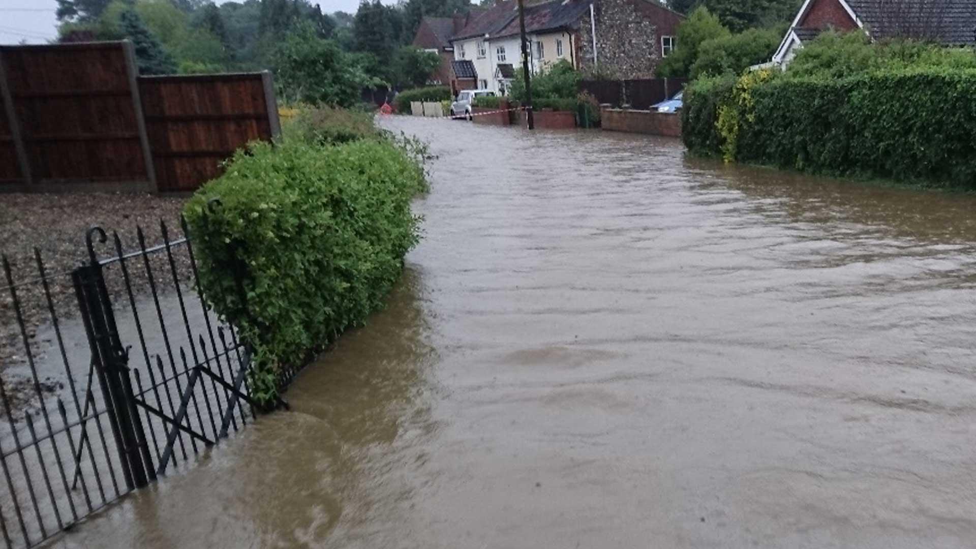 Chequers lane flooding Watton Saham